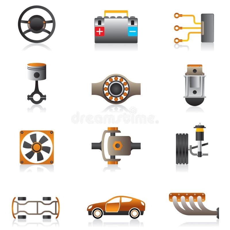 Piezas del motor de coche stock de ilustración