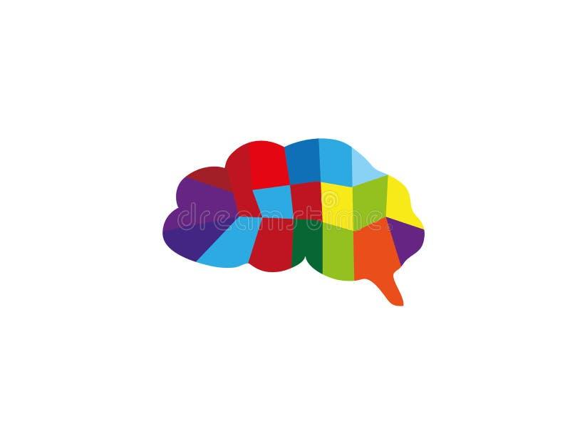 Piezas multi de los colores del cerebro para el diseño del logotipo stock de ilustración