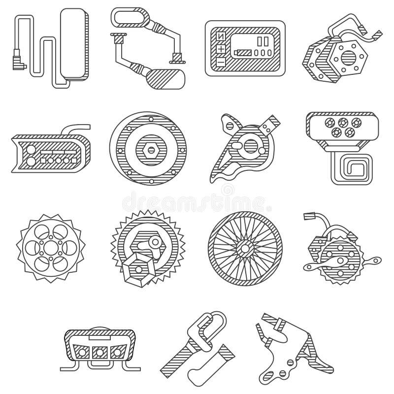 Piezas para la línea plana iconos de la bici eléctrica ilustración del vector