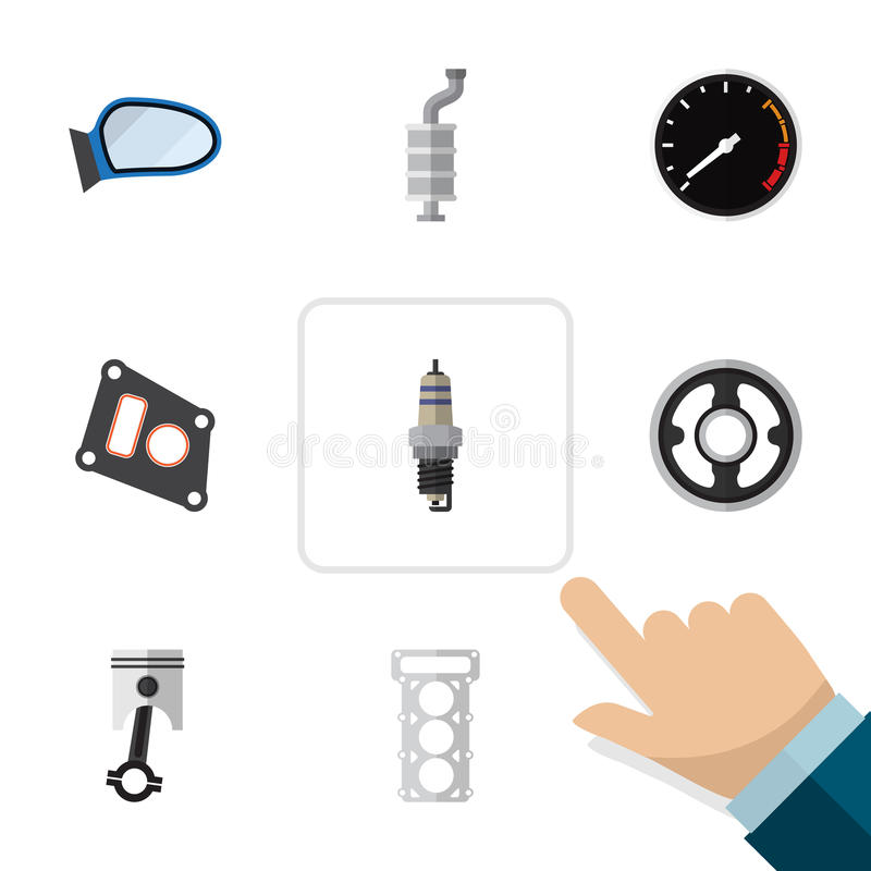 Piezas planas del icono fijadas de la junta, de la correa, del silenciador y de otros objetos del vector También incluye la veloc ilustración del vector