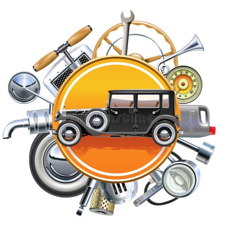 Piezas retras del coche del vector con el automóvil viejo stock de ilustración