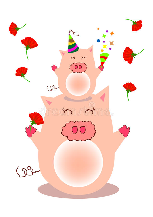 Download Pig stock vector. Image of cone, family, confetti, carnations - 21966691