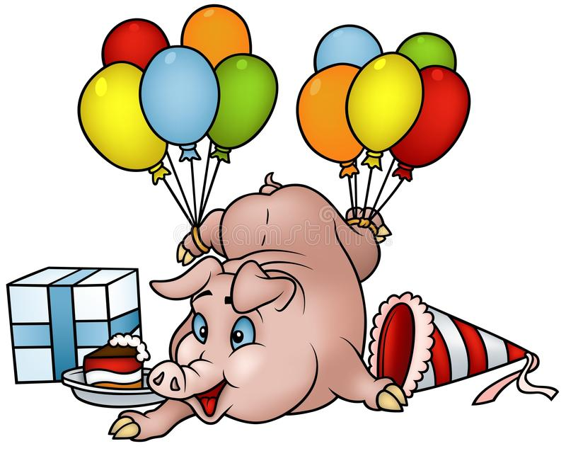 Pig with Balloons - Happy Birthday vector illustration