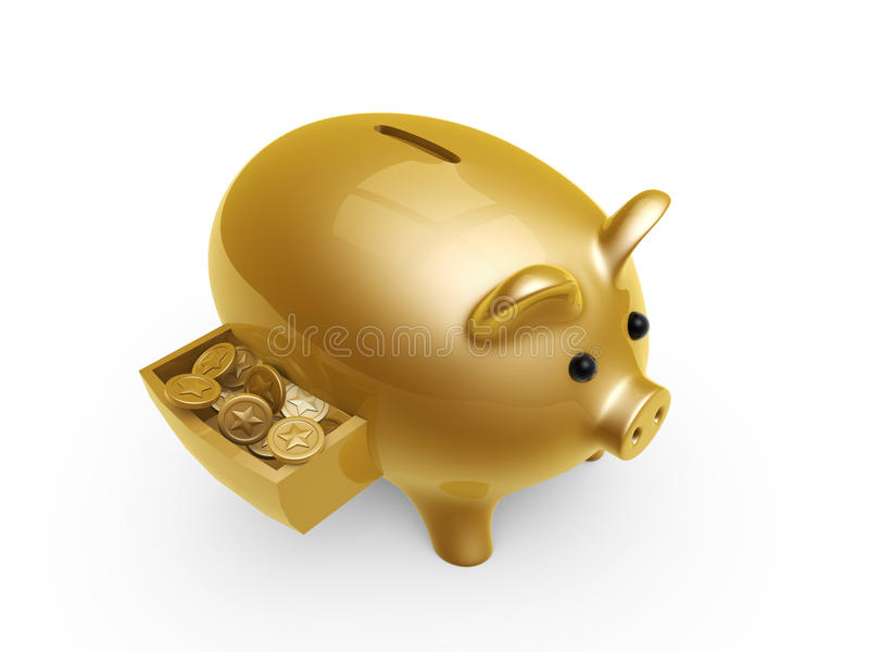 Pig bank with coins in drawer. Isolated on white background stock illustration