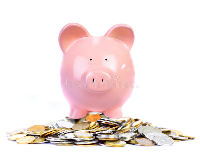 Pig bank and money stock photos