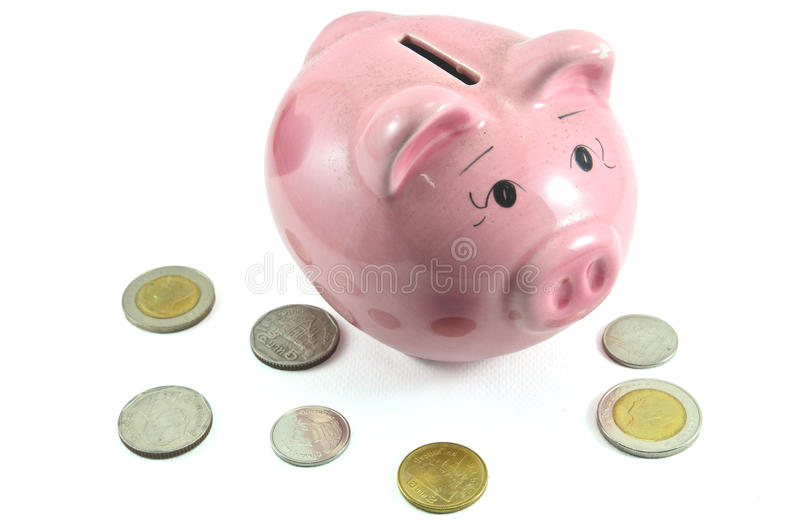 Download Pig bank and money coin stock image. Image of loan, metal - 30619549