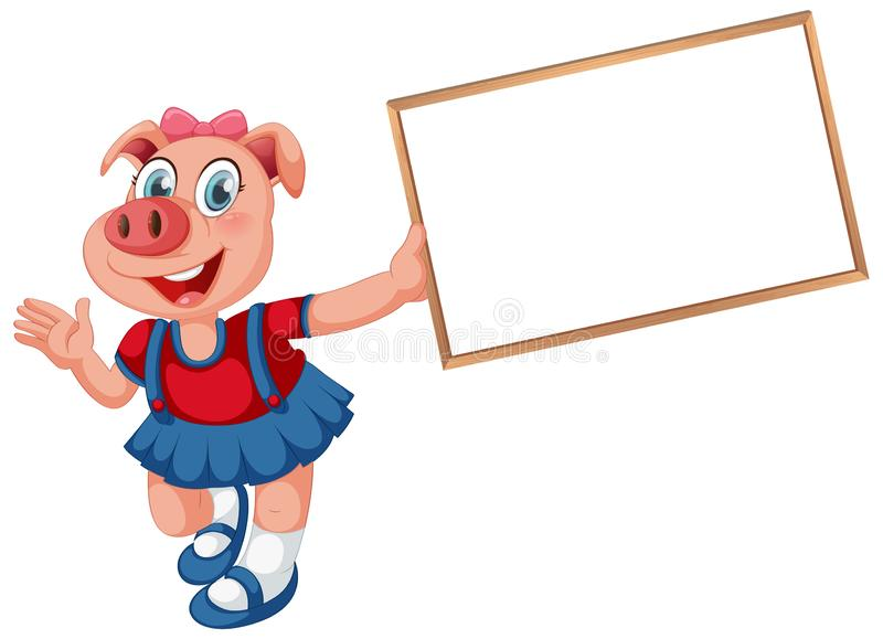 A pig banner template royalty free illustration