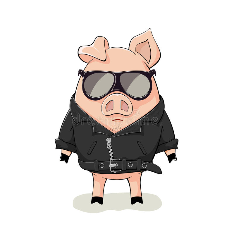 Pig in a black leather jacket stock illustration