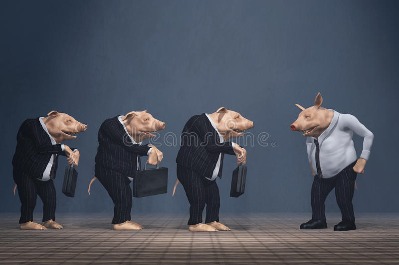 Pig Boss And Loser Team Royalty Free Stock Photos