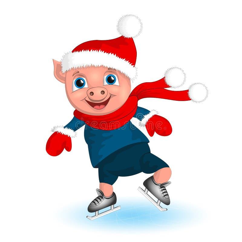 Pig boy in santa costume. Cartoon funny Christmas piggy skating on rink greeting card. vector illustration