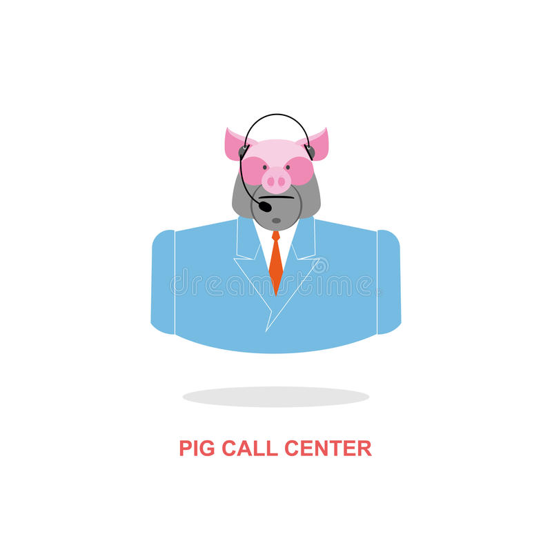 Pig call Center. Pig with headset. Farm animal costume. Responds to phone calls. Customer feedback for farm. Customer service support royalty free illustration