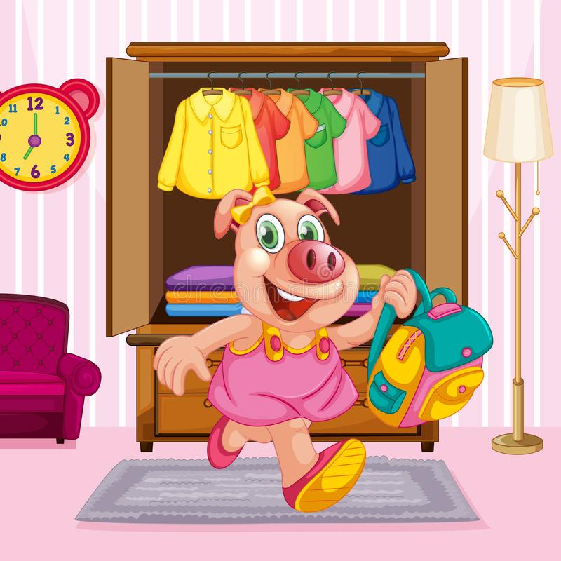 A pig cartoon character in the room royalty free illustration
