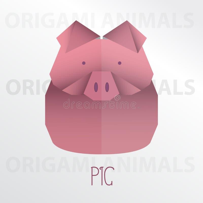 Pig origami paper art illustration. Pig cartoon mascot origami art illustration colorful animal origami art royalty free illustration