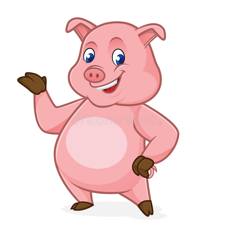 Pig cartoon presenting stock illustration