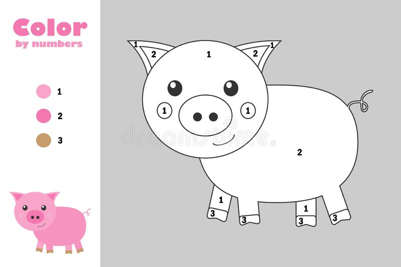 Pig in cartoon style, color by number, education paper game for the development of children, coloring page, kids preschool. Activity, printable worksheet royalty free illustration