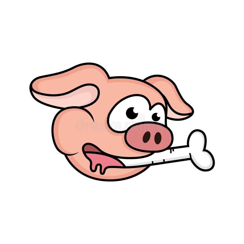 pig cartoons eating bones vector illustration