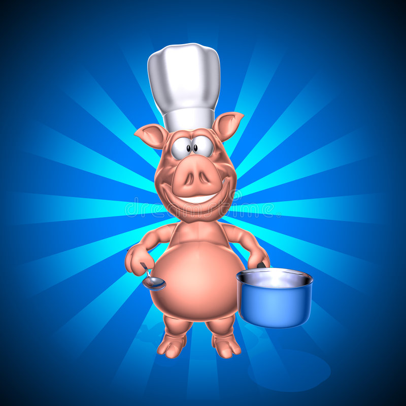 Download Pig chef stock illustration. Image of cartoon, feast, illustration - 3987197