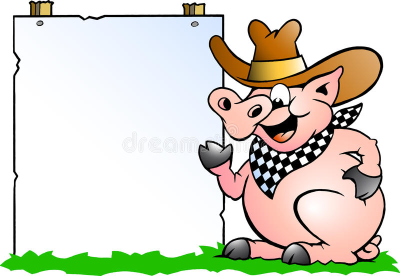 Download Pig Chef In Front Of A Sign Stock Vector - Image: 20572042