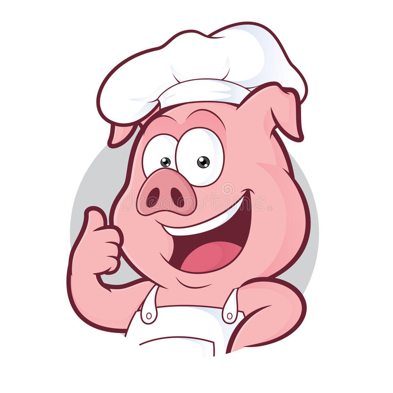 Pig chef giving thumbs up in round frame royalty free illustration