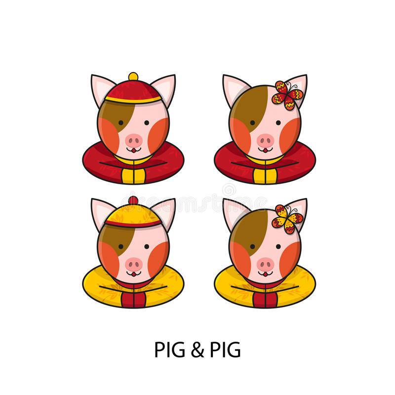Pig Chinese Happy New Year vector illustration