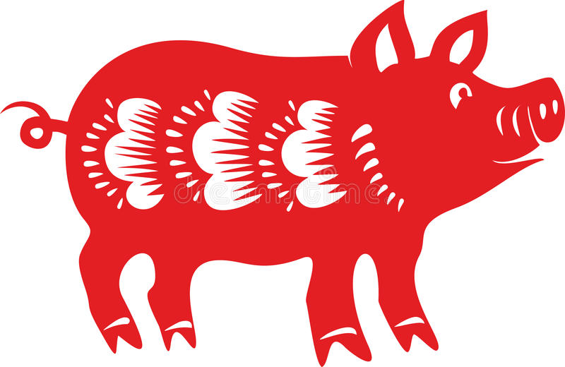pig chinese lunar horoscope stock vector illustration