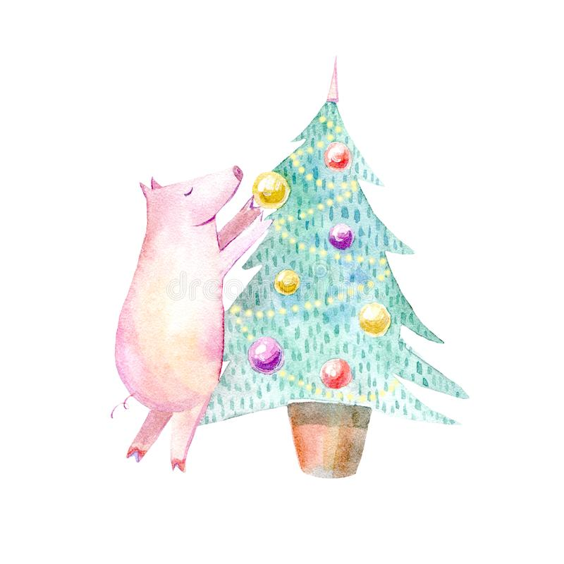 Pig and Christmas tree.Symbol of the new year. royalty free illustration