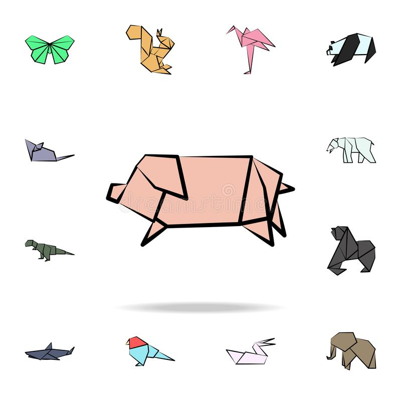 Pig colored origami icon. Detailed set of origami animal in hand drawn style icons. Premium graphic design. One of the collection. Icons for websites, web royalty free illustration
