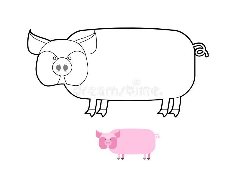 Pig coloring book. Vector illustration of farm animals royalty free illustration