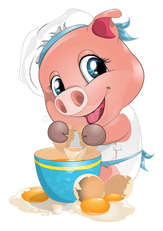 Pig cook. The pig cooks fried eggs vector illustration