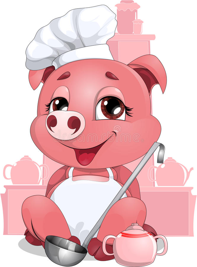 Pig cook. Piglet sitting in the kitchen chef stock illustration
