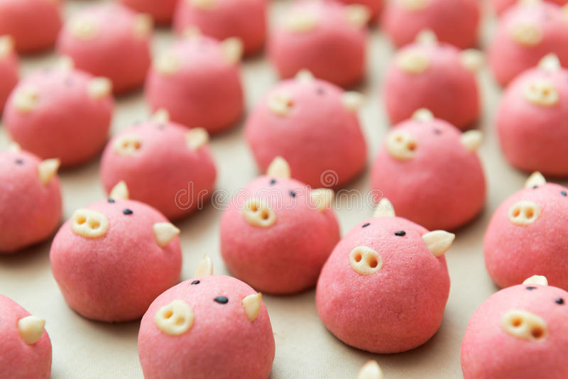 Pig cookie. Cute pig cookie selective focus stock images