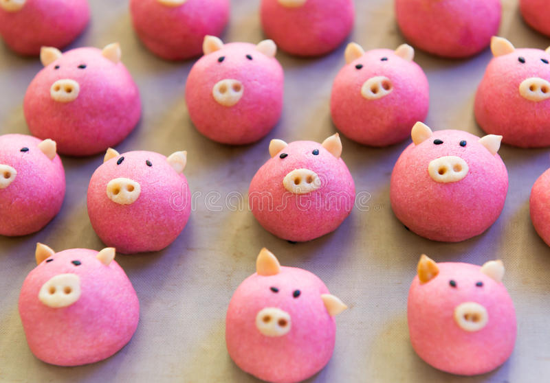 Pig cookie. Cute pig cookie on tray royalty free stock photos