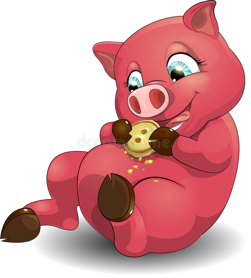 Pig and cookies. The pig cheerfully eats cookies vector illustration
