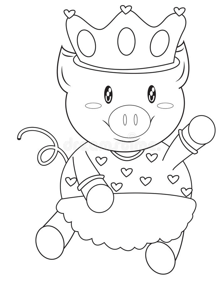Pig With A Crown Coloring Page Stock Illustration - Illustration of ...