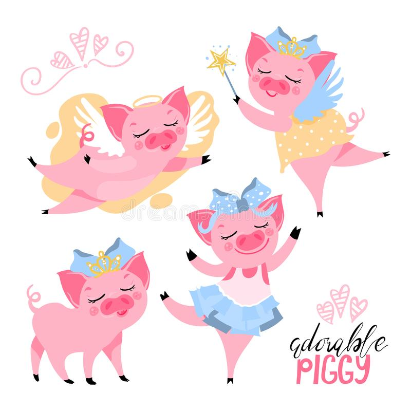 Pig in crown, with wings, fairy piggy, ballerina set. The set of adorable, cute, cartoon, flat pink piggy pig. Pig in crown, with wings, fairy piggy, ballerina vector illustration