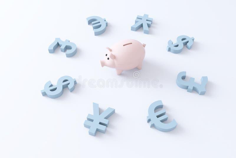 Pig and currencies. Piggy bank and currencies simbols render stock illustration