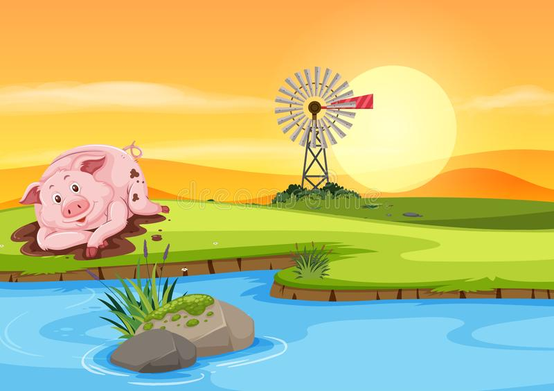 Pig in the dirt vector illustration