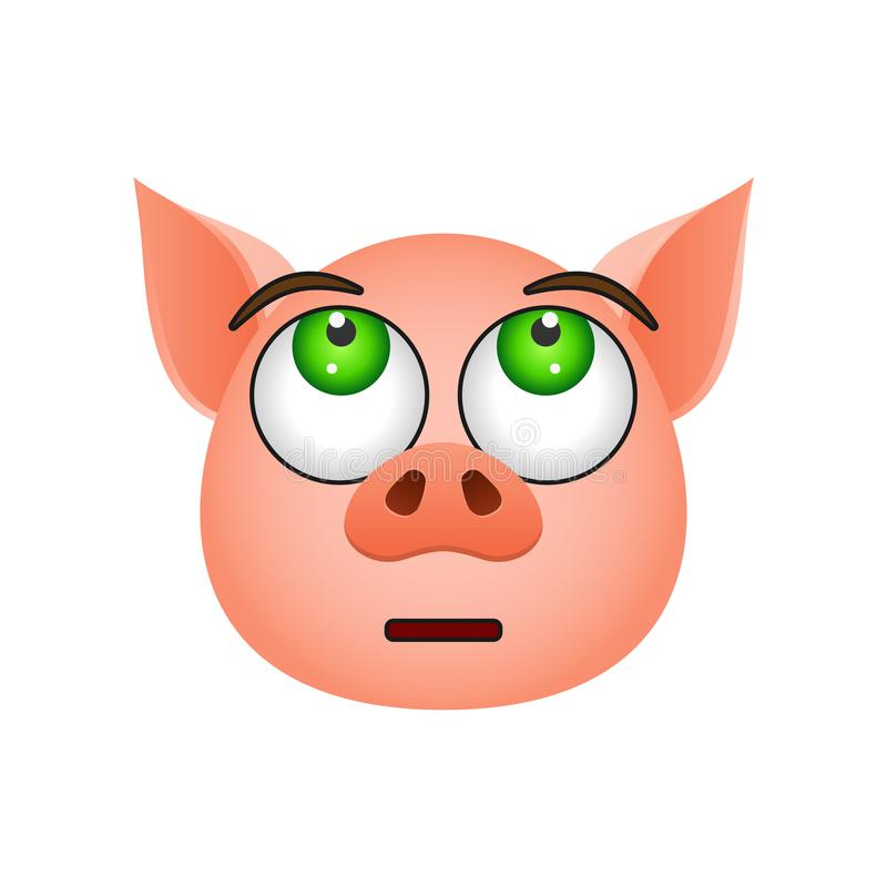 Pig in disappointed emoji icon. Element of new year symbol icon for mobile concept and web apps. Detailed Pig in disappointed emoj vector illustration