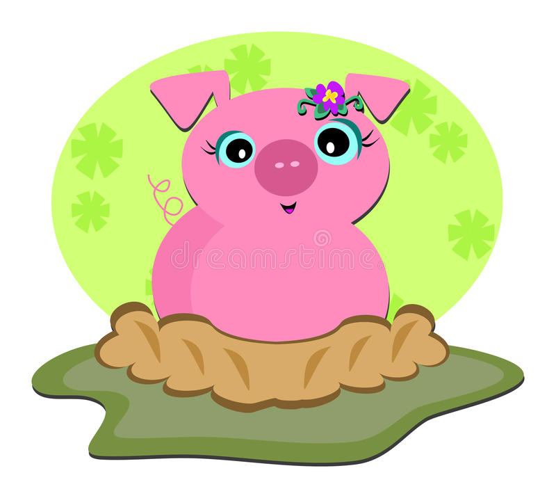 Download Pig in a Ditch stock vector. Illustration of clip, farm - 19787669