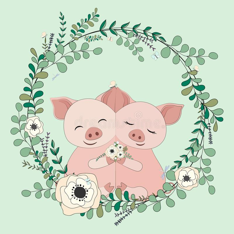 2018 02 23_pig_eucalyptus illustration stock