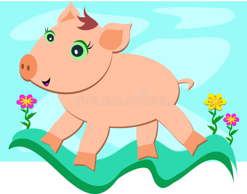 Download Pig Experiencing Freedom stock vector. Illustration of snout - 24267908