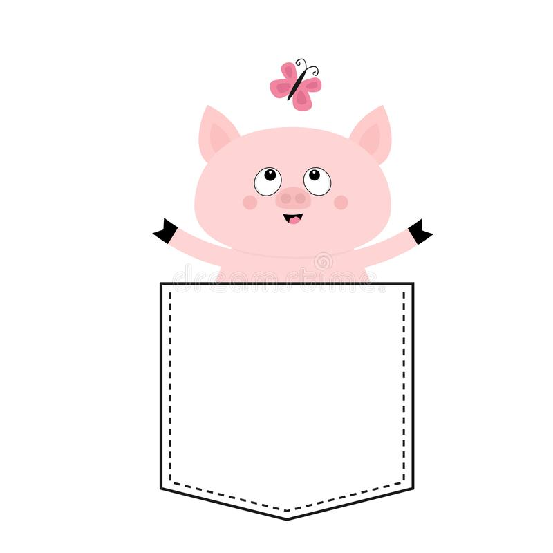 Pig face head in the pocket. Butterfly. Cute cartoon animals. Piggy piglet character. Dash line. White and black color. T-shirt. Design. Baby background royalty free illustration