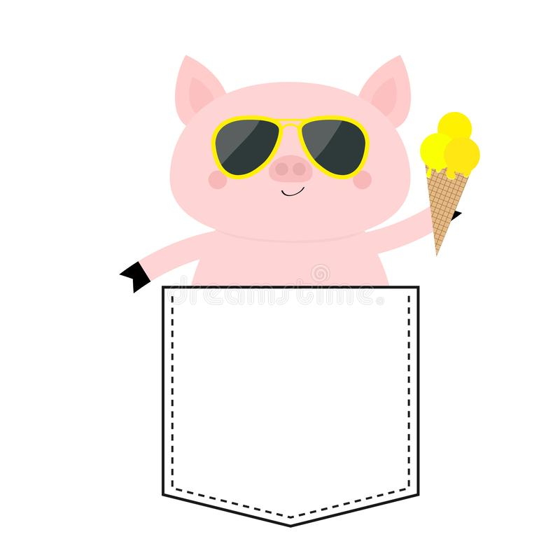 Pig face head in the pocket. Glasses, icecream. Cute cartoon animals. Piggy piglet character. Dash line. White and black color. T-. Pig face head in the pocket stock illustration