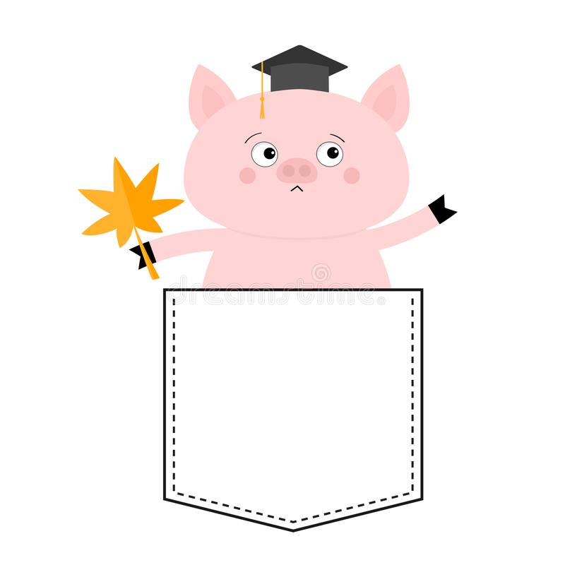 Pig face head in the pocket. Hat, maple leaf. Cute cartoon animals. Piggy piglet character. Dash line. White and black color. T-. Shirt design. Baby background stock illustration