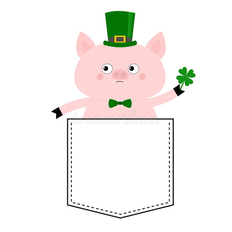 Pig face head in the pocket. Patrick day hat, clover. Cute cartoon animals. Piggy piglet character. Dash line. White and black. Color. T-shirt design. Baby vector illustration