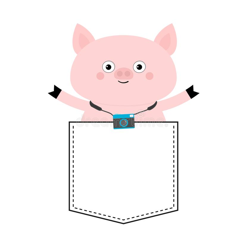 Pig face head in the pocket. Photo camera. Cute cartoon animals. Piggy piglet character. Dash line. White and black color. T-shirt. Design. Baby background royalty free illustration