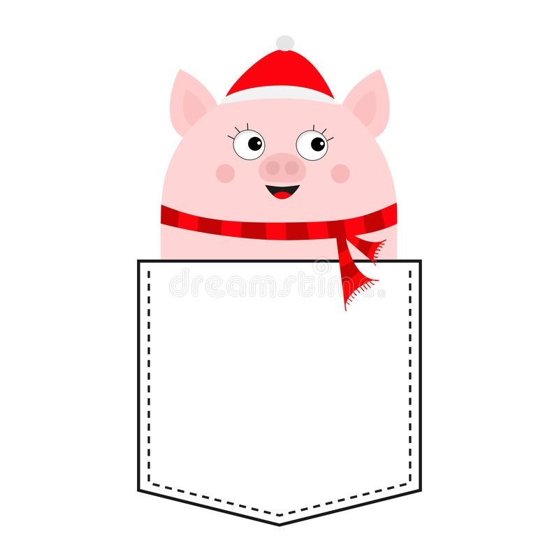 Pig face head in the pocket. Piggy piglet character. Cute cartoon animals. Dash line. Santa hat, scarf. White and black color. T-. Shirt design. Baby background vector illustration