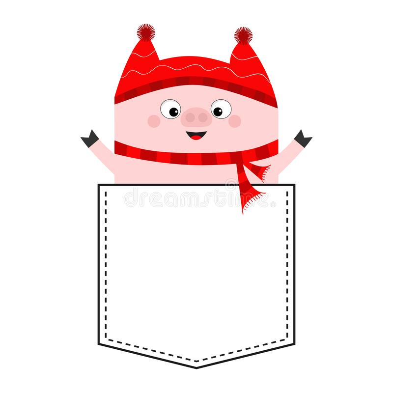 Pig face head in the pocket. Piggy piglet character. Red hat, scarf. Cute cartoon animals. Dash line. White and black color. T-. Shirt design. Baby background royalty free illustration