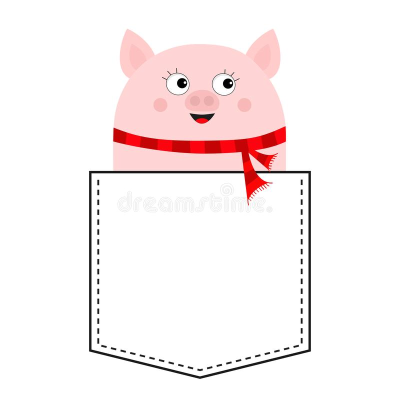 Pig face head in the pocket. Piggy piglet character. Red scarf. Cute cartoon animals. Dash line. White and black color. T-shirt. Design. Baby background royalty free illustration