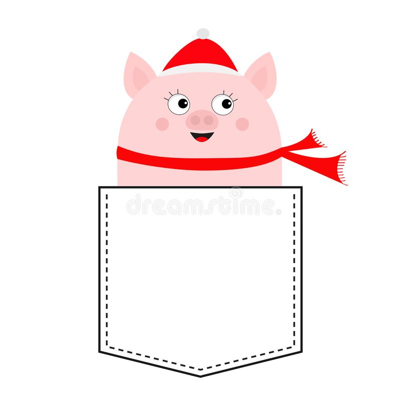 Pig face head in the pocket. Piggy piglet character. Santa hat, scarf. Cute cartoon animals. Dash line. White and black color. T-. Shirt design. Baby background royalty free illustration
